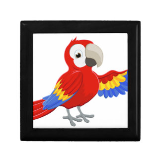 Cartoon Parrot Pointing Small Square Gift Box