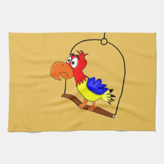 Cartoon parrot tea towel
