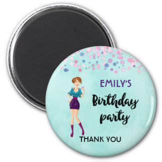 Cartoon Party Girl Holding Drink Birthday Thanks 6 Cm Round Magnet