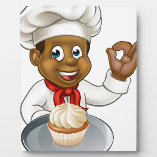 Cartoon Pastry Chef Baker With Fairy Cake Plaque
