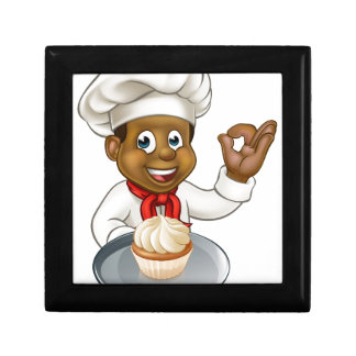 Cartoon Pastry Chef Baker With Fairy Cake Small Square Gift Box