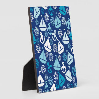 Cartoon Pattern With Sailboats Plaque