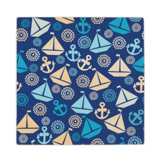 Cartoon Pattern With Sailboats Wood Coaster