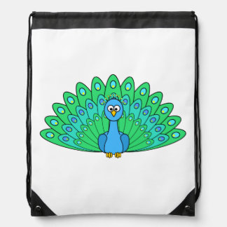 Cartoon Peacock Drawstring Bags