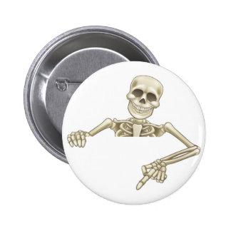 Cartoon Peeking Skeleton Sign 6 Cm Round Badge