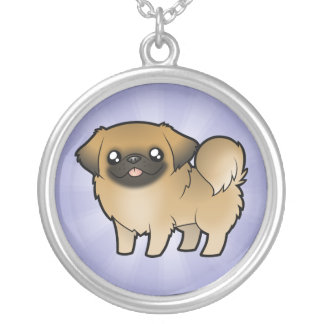 Cartoon Pekeingese (puppy cut) Silver Plated Necklace