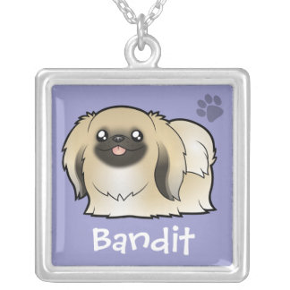 Cartoon Pekeingese (show cut) Silver Plated Necklace