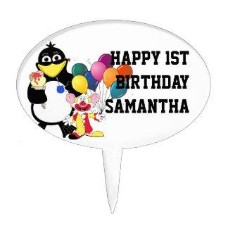 Cartoon penguin and clown cake picks