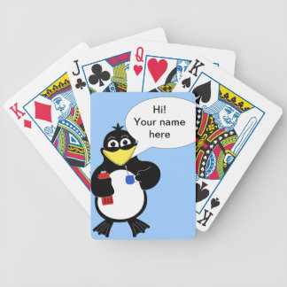 Cartoon penguin bicycle playing cards