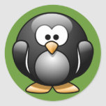 Cartoon Penguin Classic Round Sticker