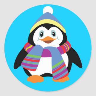 cartoon penguin classic round sticker