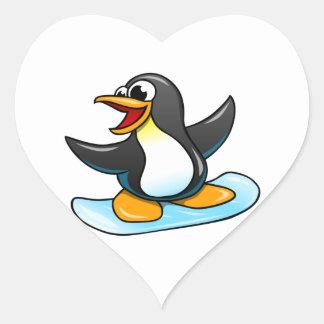 Cartoon Penguin Heart Sticker