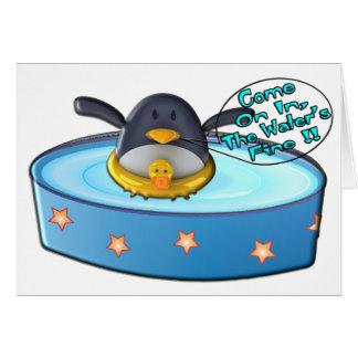Cartoon Penguin In Pool Card