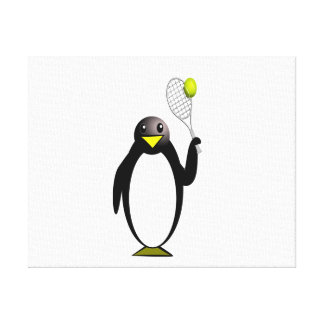 Cartoon Penguin Playing Tennis Stretched Canvas Print