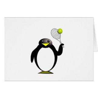 Cartoon Penguin Playing Tennis Greeting Card
