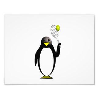 Cartoon Penguin Playing Tennis Photograph