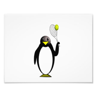 Cartoon Penguin Playing Tennis Photographic Print