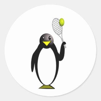 Cartoon Penguin Playing Tennis Round Sticker