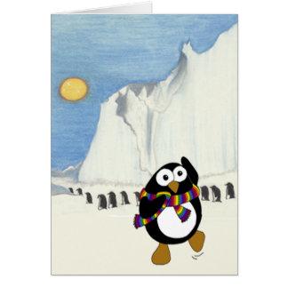 Cartoon penguin retirement greeting card