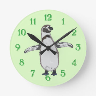 Cartoon Penguin Round Clock