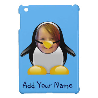 Cartoon Penguin Suit Funny Photo Template in Blue iPad Mini Cover