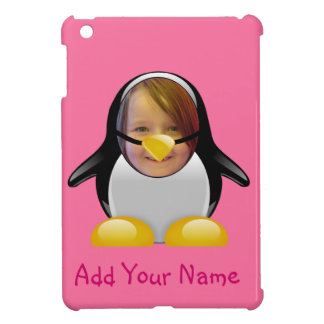 Cartoon Penguin Suit Funny Photo Template in Pink iPad Mini Cases