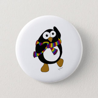 Cartoon penguin wearing a colorful rainbow scarf. 6 cm round badge