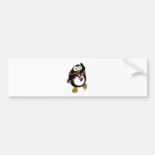 Cartoon penguin wearing a colorful rainbow scarf. bumper stickers