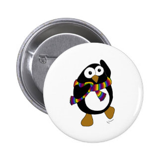 Cartoon penguin wearing a colourful rainbow scarf. 6 cm round badge