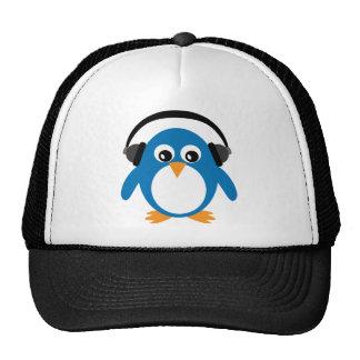 Cartoon penguin with headphones hat