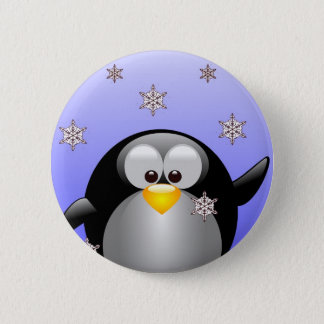 Cartoon Penguin with Snowflakes 6 Cm Round Badge