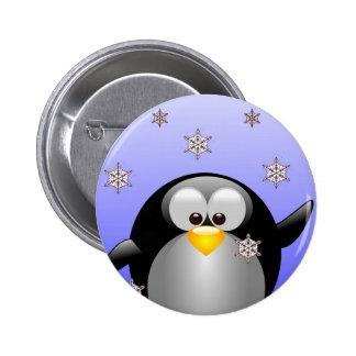 Cartoon Penguin with Snowflakes 6 Cm Round Badge