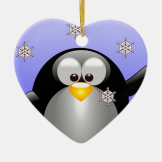 Cartoon Penguin with Snowflakes Christmas Ornament