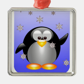 Cartoon Penguin with Snowflakes Silver-Colored Square Decoration