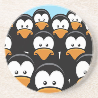 Cartoon Pensive Penguin Army Sandstone Coaster