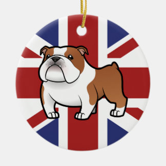 Cartoon Pet with Flag Christmas Ornament