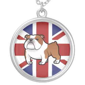 Cartoon Pet with Flag Silver Plated Necklace