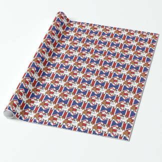Cartoon Pet with Flag Wrapping Paper