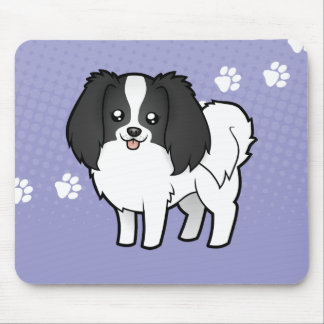 Cartoon Phalene / Japanese Chin Mouse Pad