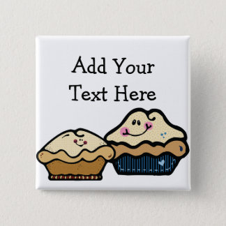 Cartoon Pies for Pie Day January 23rd 15 Cm Square Badge