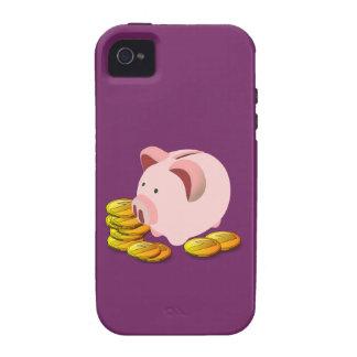 Cartoon Piggy Bank and Golden Coins Case-Mate iPhone 4 Case