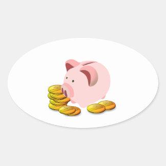 Cartoon Piggy Bank and Golden Coins Oval Sticker