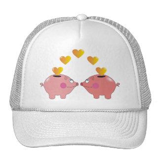 Cartoon Piggy Banks in Love Cute Kids Hats