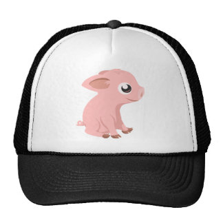 Cartoon Piglet Sitting and Smiling Hat
