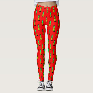 Cartoon Pineapples on a Red Background Leggings