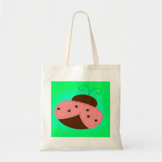 Cartoon Pink & Brown Ladybug on a Turquoise Backgr Tote Bags