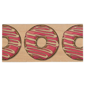 Cartoon Pink Donut with Icing Wood USB 2.0 Flash Drive