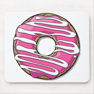 Cartoon Pink Donut with Icing Mouse Pad