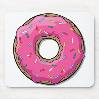 Cartoon Pink Donut With Sprinkles Mouse Mat