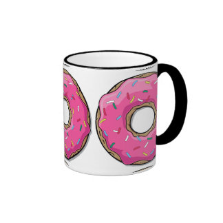 Cartoon Pink Donut With Sprinkles Mugs